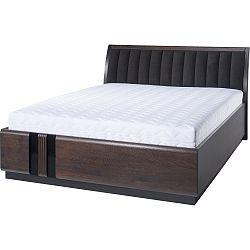 Dvoulůžková postel s černým polstrováním Szynaka Meble Porti Dark Chocolate