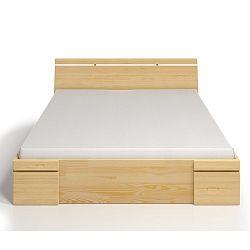 Dvoulůžková postel z borovicového dřeva se zásuvkou SKANDICA Sparta Maxi, 200x200cm