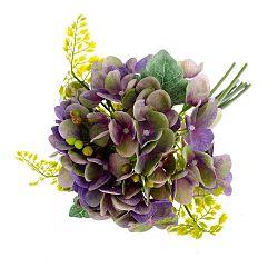 Fialová umělá květina ve stylu hortenzie s kapradím Dakls