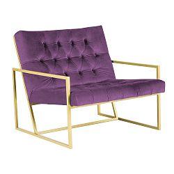Fialové křeslo s konstrukcí ve zlaté barvě Paolo Bellutti Maurizio