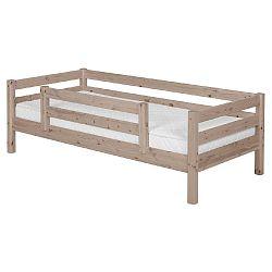 Hnědá dětská postel z borovicového dřeva s bezpečnostní lištou Flexa Classic, 90x200cm