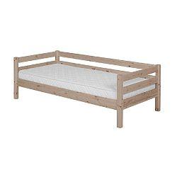Hnědá dětská postel z borovicového dřeva s boční lištou Flexa Classic, 90x200cm
