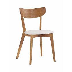 Hnědá dubová jídelní židle s bílým sedákem Folke Ami