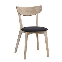 Hnědá dubová jídelní židle s tmavě šedým sedákem Folke Amia