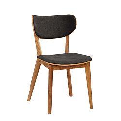 Hnědá dubová jídelní židle s tmavě šedým sedákem Folke Cato
