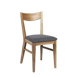 Hnědá dubová jídelní židle se světle šedým podsedákem Folke Dylan