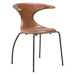 Hnědá kožená jídelní židle s černým kovovým podnožím DAN–FORM Denmark Flair