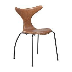 Hnědá kožená jídelní židle s černým kovovým podnožím DAN–FORM Dolphin