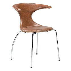 Hnědá kožená jídelní židle s pochromovaným podnožím DAN–FORM Denmark Flair
