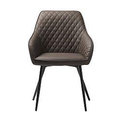Hnědá kožená jídelní židle Unique Furniture Milton