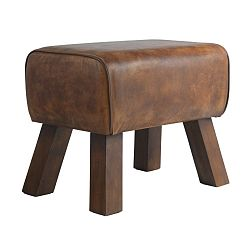 Hnědá kožená lavice Fuhrhome Valencia