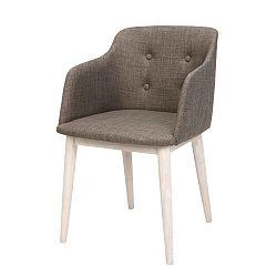 Hnědá polstrovaná jídelní židle s podnožím ze dřeva gumovníku Actona Corpus