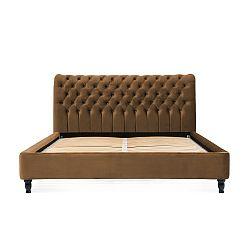 Hnědá postel z bukového dřeva s černými nohami Vivonita Allon, 140 x 200 cm