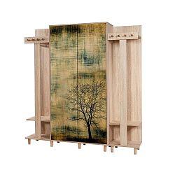 Hnědá předsíňová stěna Garmanto Tree, výška 180 cm