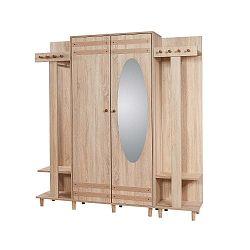 Hnědá předsíňová stěna se zrcadlem Garmanto, výška 180 cm