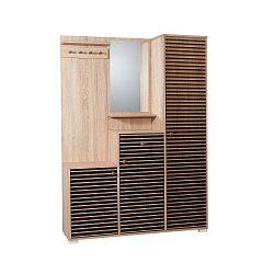 Hnědá předsíňová stěna se zrcadlem Kardelen Intim, výška 188 cm