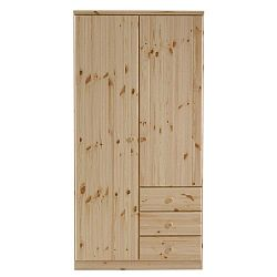 Hnědá šatní skříň z borovicového dřeva Steens Ribe, 202 x 100,8 cm
