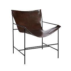Hnědá židle z pravé kůže Simla Relax