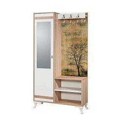 Hnědo-bílá předsíňová stěna se zrcadlem Inci Tree, výška 196 cm