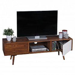 Hnědo-bílá TV komoda z masivního sheeshamového dřeva Skyport REPA, výška 45 cm