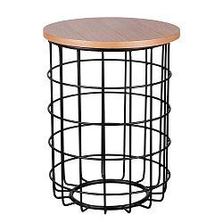 Hnědo-černý odkládací stolek sømcasa Elmo