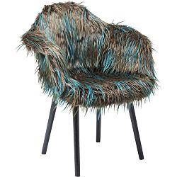 Hnědo-modrá jídelní židle s potahem z umělé kožešiny Kare Design Yeti