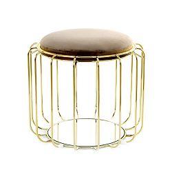 Hnědobéžový odkládací stolek / puf s konstrukcí ve zlaté barvě 360 Living Canny, ⌀ 50 cm