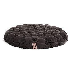 Hnědošedý sedací polštářek s masážními míčky Lindy Vrňáková Bloom, Ø75cm