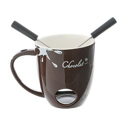 Hnědý keramický šálek na čokoládové fondue Kasanova Chocolat