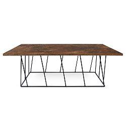 Hnědý konferenční stolek s černými nohami TemaHome Helix, 120 cm