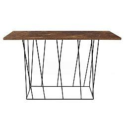 Hnědý konzolový stolek s černými nohami TemaHome Helix