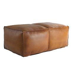 Hnědý kožený puf Fuhrhome Memphis Large