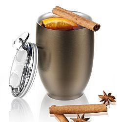 Hnědý nerezový termohrnek Asobu Imperial Beverage, 300 ml