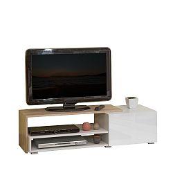 Hnědý televizní stolek s bílými zásuvkami Symbiosis Albert, šířka120cm