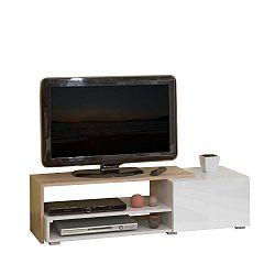 Hnědý televizní stolek s bílými zásuvkami Symbiosis Briks, šířka120cm