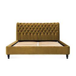 Hořčicově hnědá postel z bukového dřeva s černými nohami Vivonita Allon, 160 x 200 cm