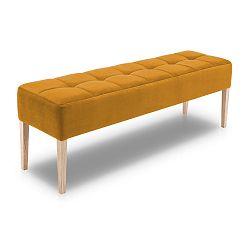 Hořčicově žlutá lavice s dubovými nohami Mossø Hattu, délka 152 cm