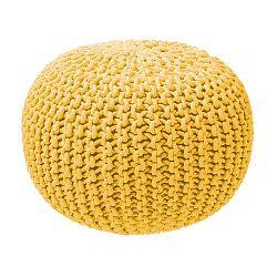 Hořčicový pletený puf ZicZac