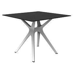 Jídelní stůl s bílýma nohama a černou deskou vhodný do exteriéru Resol Vela, 90 x 90 cm