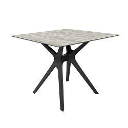 Jídelní stůl s černýma nohama a skleněnou deskou vhodný do exteriéru Resol Vela, 90 x 90 cm