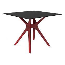 Jídelní stůl s červenýma nohama a černou deskou vhodný do exteriéru Resol Vela, 90 x 90 cm