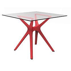 Jídelní stůl s červenýma nohama a skleněnou deskou vhodný do exteriéru Resol Vela, 90 x 90 cm