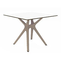 Jídelní stůl s hnědýma nohama a bílou deskou vhodný do exteriéru Resol Vela, 90 x 90 cm