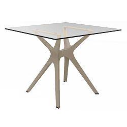 Jídelní stůl s hnědýma nohama a skleněnou deskou vhodný do exteriéru Resol Vela, 90 x 90 cm
