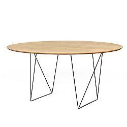 Jídelní stůl v dekoru dubového dřeva s černým podnožím TemaHome Row, Ø150cm