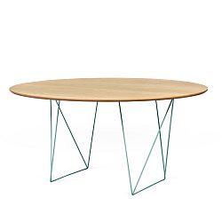 Jídelní stůl v dekoru dubového dřeva se zeleným podnožím TemaHome Row, Ø150cm