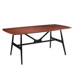 Jídelní stůl v dekoru ořechového dřeva s černými nohami sømcasa Gabby,  180x90cm