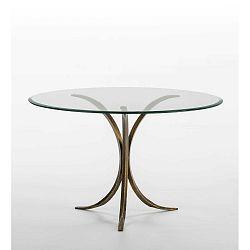 Jídelní stůl ze skla a železa Thai Natura, Ø 120 x 77 cm