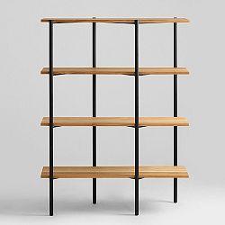 Knihovna s černou konstrukcí a dubovými policemi Custom Form Rave, výška150cm