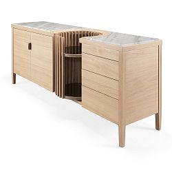 Komoda z dubového dřeva s otočným barem a mramorovou deskou Wewood - Portuguese Joinery Carousel